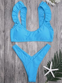 Ruffle Strap High Cut Thong Bikini Set