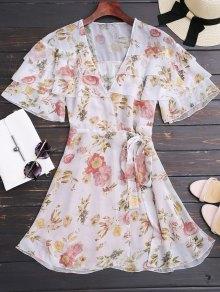 Mini Robe Enveloppée à Manches Volants à Motif Floral  - Floral L
