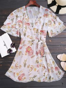 Floral Flounces Wrap Mini Dress
