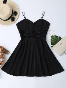 فستان كامي محبوك تريم منزلج شمس - أسود M