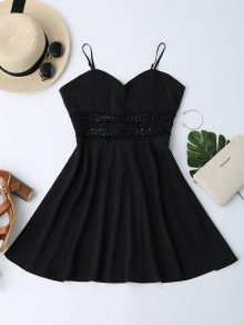 Cami Crochet Trim Skater Sun Dress - Black S