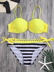 Cupped Push Up Underwire Bikini Set - Bright Yellow L