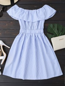 Open Back Striped Off The Shoulder Dress - Blue S