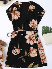 Cap Sleeve Floral Mini Wrap Dress - Black S