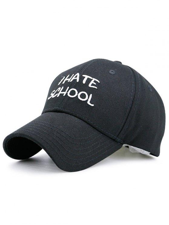 I Hate School Embroideied Design Baseball Hat - Noir
