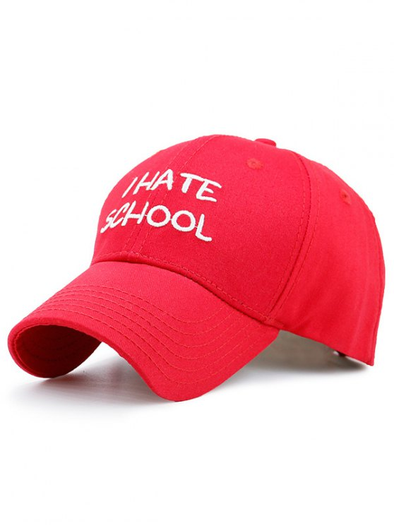 I Hate School Embroideied Design Baseball Hat - Rouge