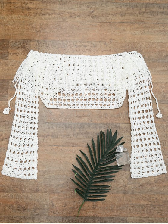 shops Crochet Off The Shoulder Cover Up Top - WHITE ONE SIZE