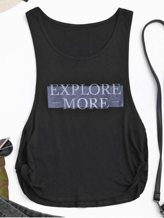 women's Dropped Armhole Explore More Sporty Top - BLACK XL