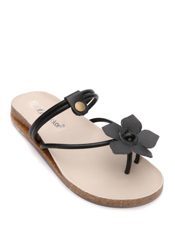women's Faux Leather Flat Heel Flower Slippers - BLACK 37