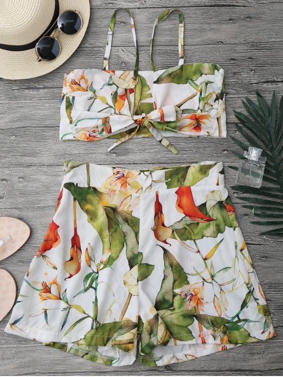Ensemble de couture et de shorts floraux nœud - Blanc S