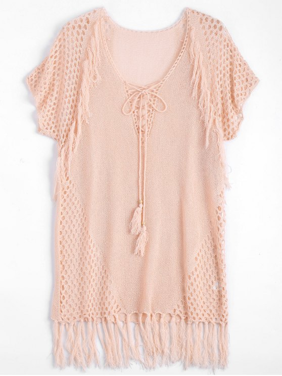 fashion Relaxed Sheer Beach Tunic Cover Up Dress - PINK ONE SIZE
