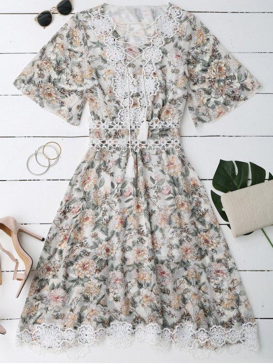 Lace Up Plunging cuello vestido floral - Blanco L