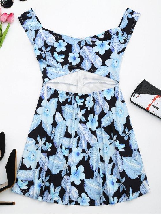 Vestido estampado con estampado de flores - Negro S