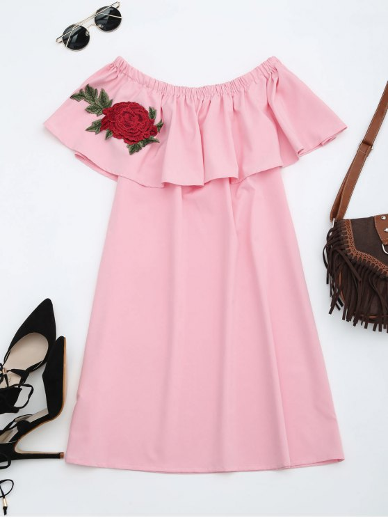 trendy Floral Patched Flounce Shift Dress - PINK ONE SIZE