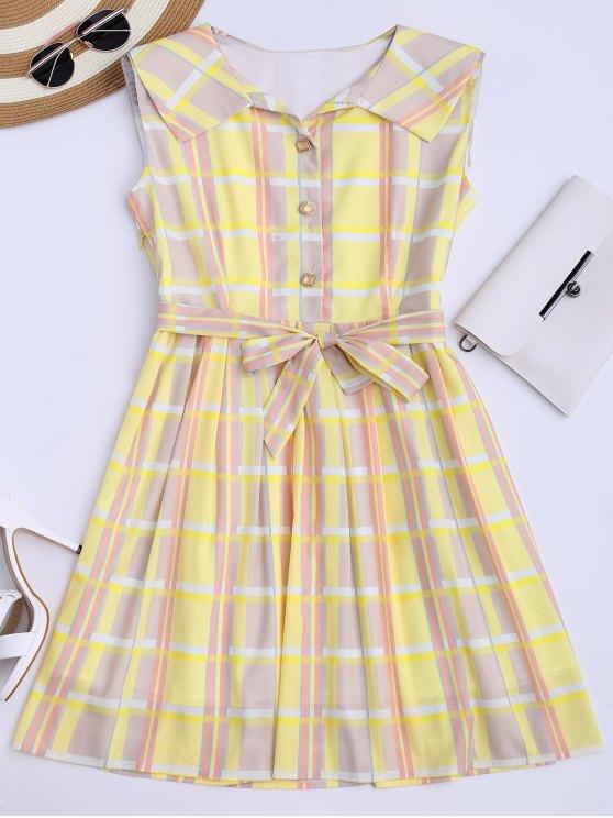 Plaid Flared camisa vestido con cinturón - Amarillo M
