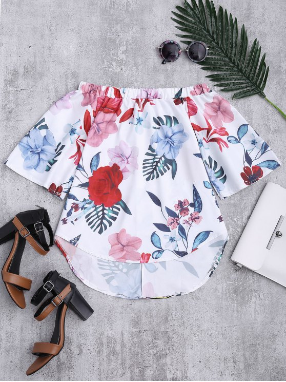 women's Floral Off The Shoulder Top - WHITE L