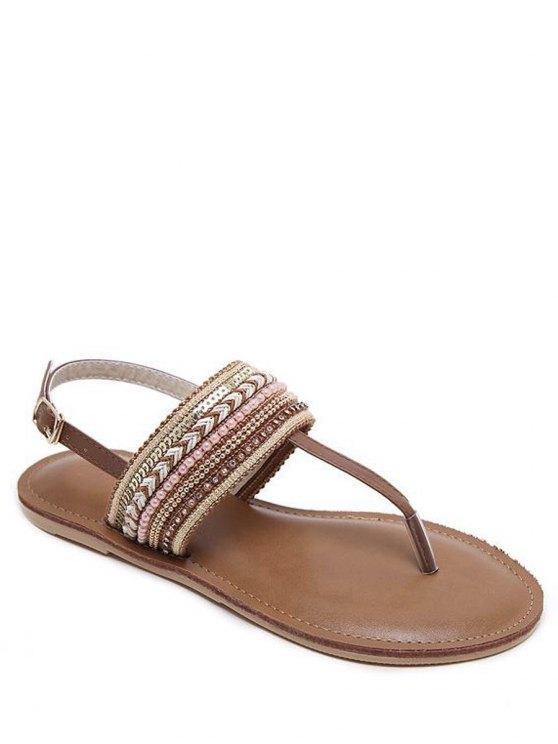 best Belt Buckle Beading Flat Heel Sandals - DEEP BROWN 39
