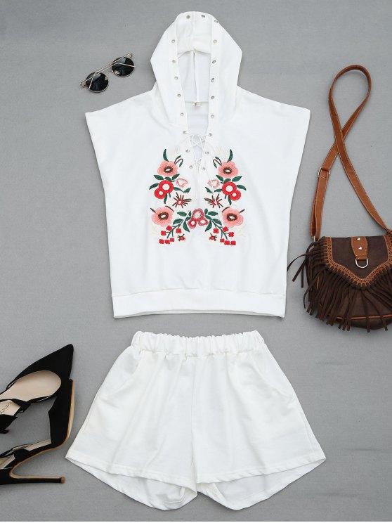 Traje de dos piezas con capucha floral remendada - Blanco 2XL