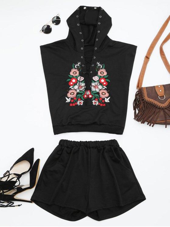 Traje de dos piezas con capucha floral remendada - Negro L