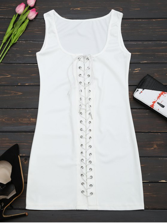 affordable U Neck Lace Up Bodycon Dress - WHITE S