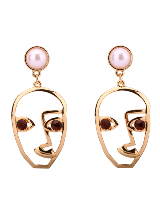 outfits Rhinestone Faux Pearl Face Earrings - COFFEE