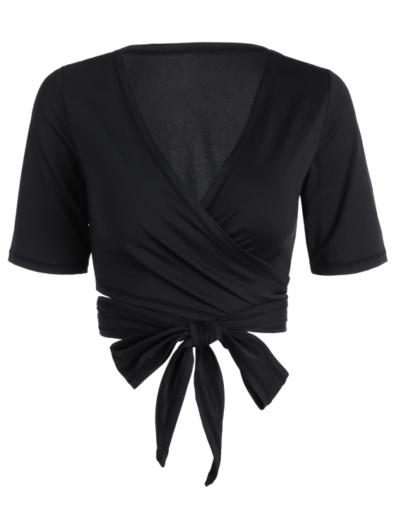 affordable Cropped Plunging Neck Sporty Wrap Top - BLACK M