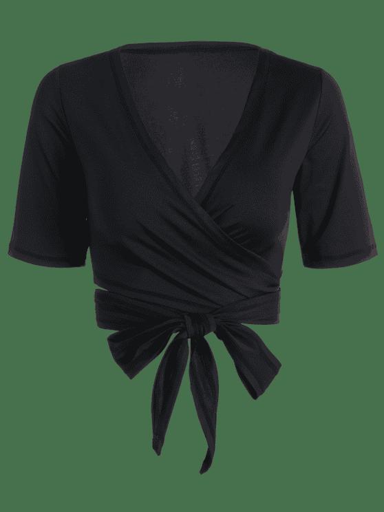 Cuello Plunging Cuello Sporty Wrap Top - Negro S