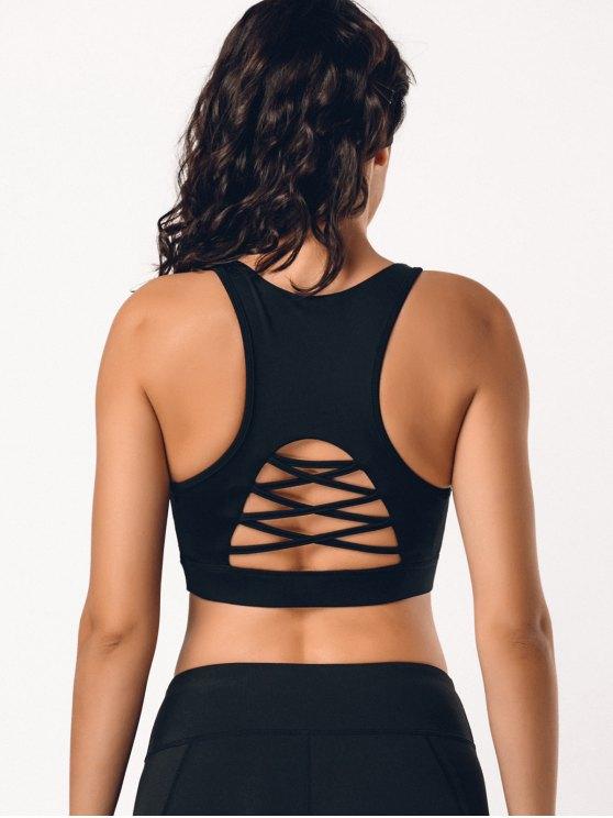 Back Strappy Cutout Mesh Panel Sporty Bra - Noir L