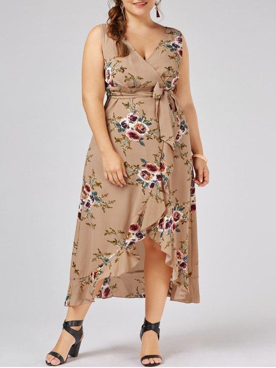 online Plus Size Tiny Floral Overlap Flounced Flowy Beach Dress - APRICOT XL
