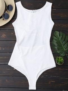 Sleeveless Lace Up Back Bodysuit - White L