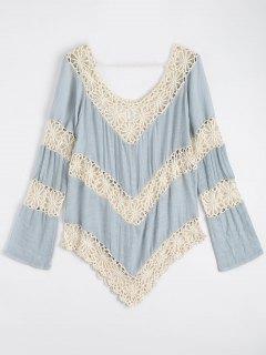 Cache Maillot De Palge Au Crochet à Motif En Chevrons - Bleu Clair