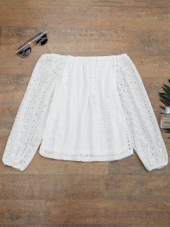 Off The Shoulder Embroidered Cover Up Top - White S