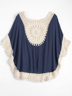 Crochet Insert Beach Poncho Cover Up - Blue