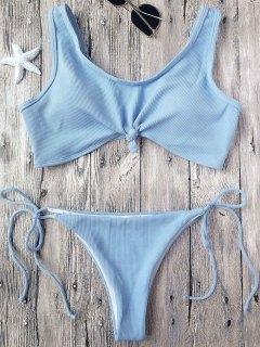 Ribbed Knotted String Bralette Bikini - Light Blue M