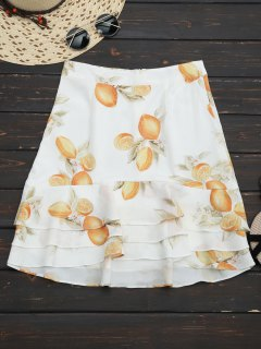 Lemon Layered Flounces A-Line Skirt - Floral M