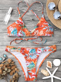 Tropical Print Strappy Bikini Top And Bottoms - Orange M