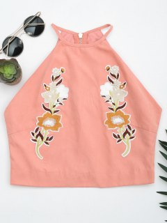 Floral Embroidered Faux Suede Tank Top - Pink L