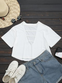 Cut Out Choker Cropped Top - White S
