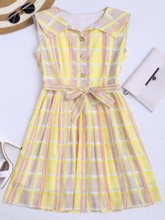 Plaid Flared Shirt Dress With Belt - Yellow L