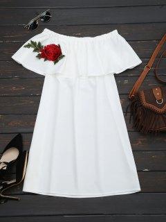 فستان زهري باطش كشكش مستقيم - أبيض