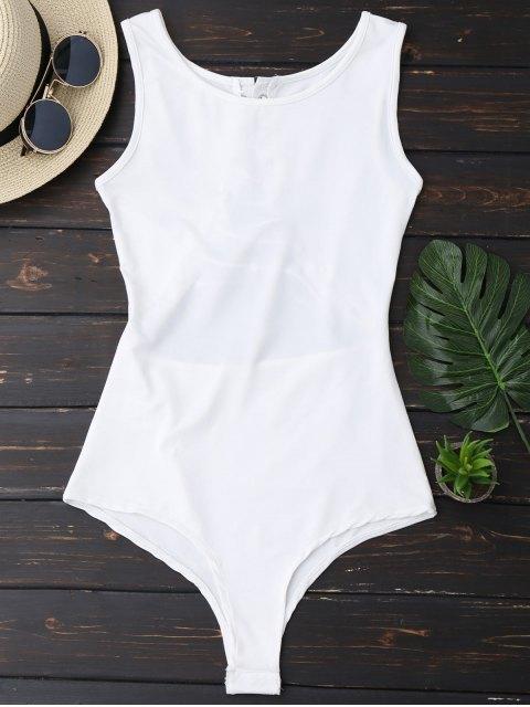 latest Sleeveless Lace Up Back Bodysuit - WHITE M Mobile