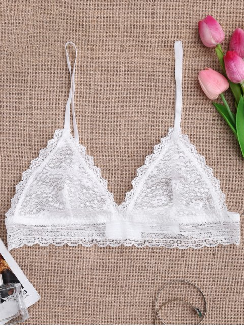 fancy Soft Sheer Full Lace Bralette - WHITE M Mobile