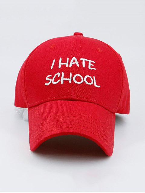 outfit I Hate School Embroideried Design Baseball Hat - RED  Mobile