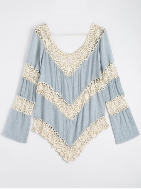 hot Chevron Crochet Panel Beach Cover Up Top - LIGHT BLUE ONE SIZE Mobile