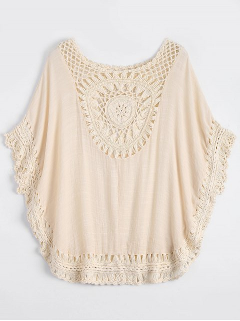 latest Crochet Insert Beach Poncho Cover Up - OFF-WHITE ONE SIZE Mobile