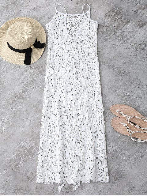 shops Sheer Crochet Lace Midi Slip Dress - WHITE L Mobile