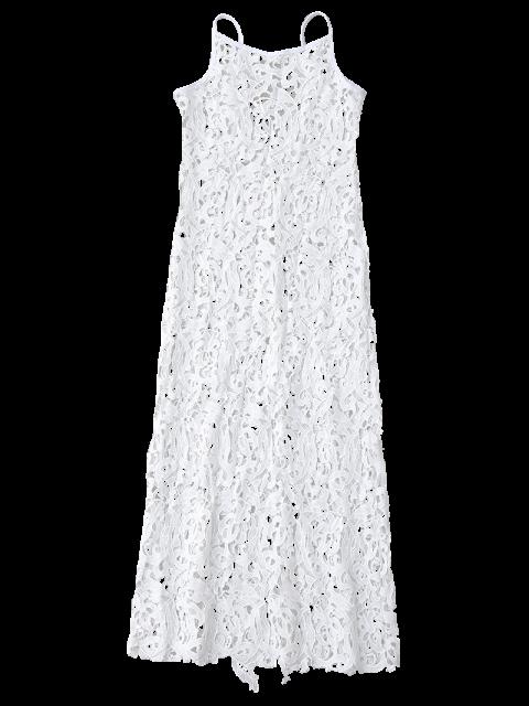 latest Sheer Crochet Lace Midi Slip Dress - WHITE XL Mobile