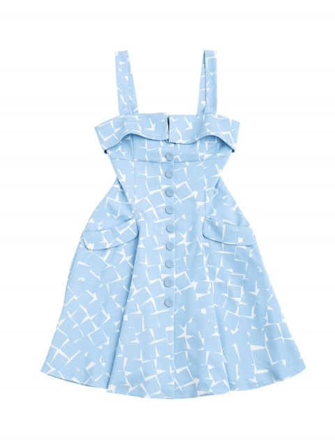 women's Bottun Up Geometric A-Line Dress - LIGHT BLUE S Mobile