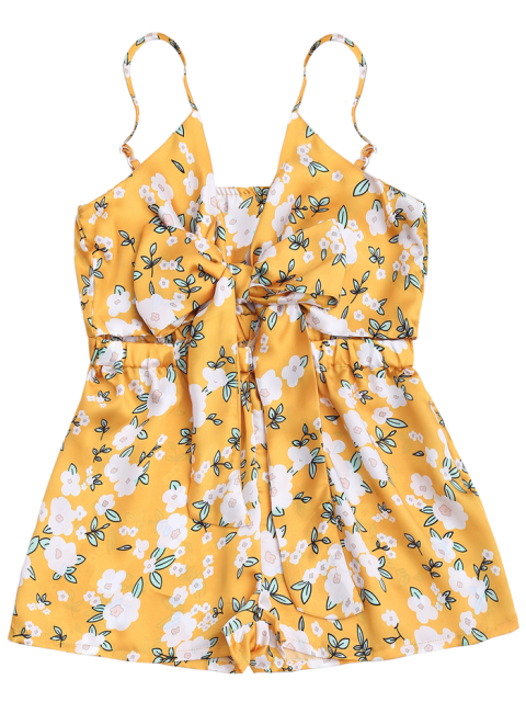 fashion Tiny Floral Bowknot Cutout Cami Romper - YELLOW 2XL Mobile