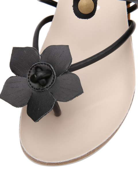 women's Faux Leather Flat Heel Flower Slippers - BLACK 37 Mobile